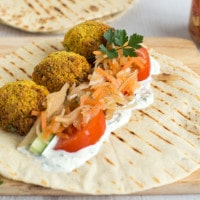 Cauliflower falafel wraps with spicy slaw