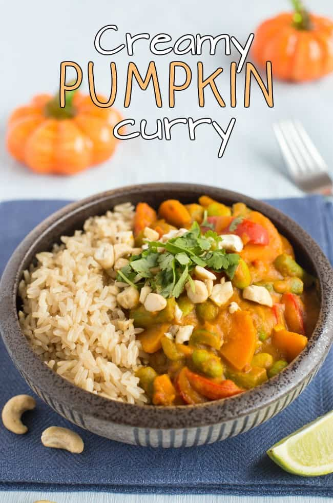 Creamy pumpkin curry with red Thai curry paste - what better way to get into the autumn spirit! Such a comforting, warming, spicy dinner. Vegetarian, vegan and gluten-free!