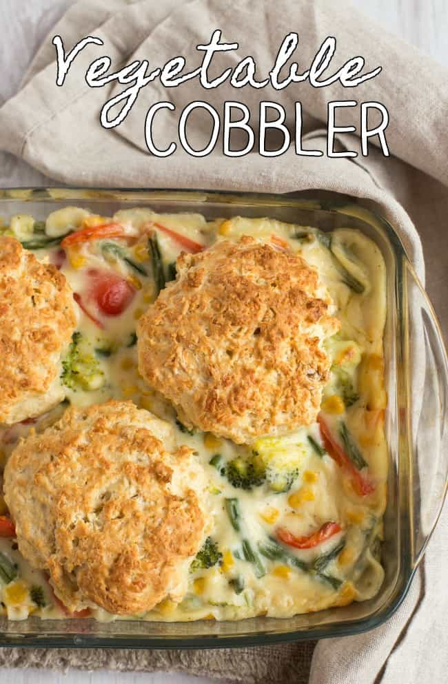 Vegetable cobbler from my Granny's old handwritten cookbook! Only the best recipes are passed down through the generations, and this one's a real winner. A creamy vegetable casserole with cheesy scone topping - vegetarian comfort food at its finest.
