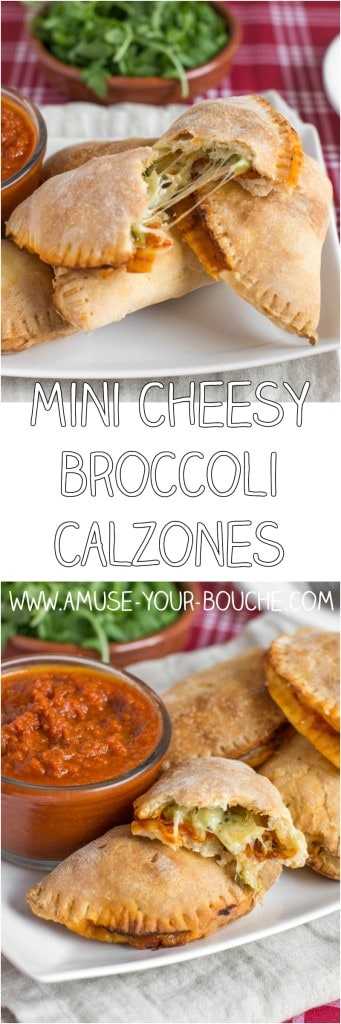 Mini cheesy broccoli calzones - stuffed with tomato sauce, garlicky broccoli and ooey gooey mozzarella! The perfect cheesy handheld nibble.