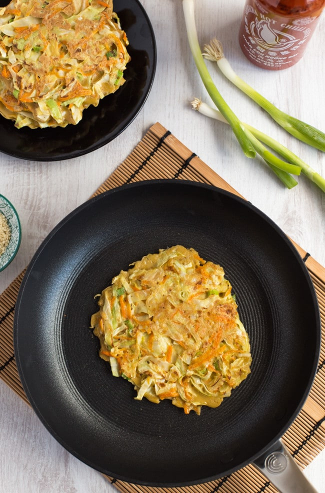 Vegetarian okonomiyaki - a Japanese savoury pancake that's a lot easier to make than it sounds!