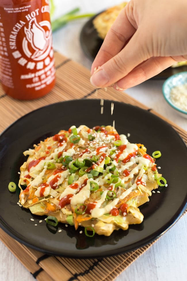 Vegetarian Okonomiyaki Japanese Cabbage Pancakes Easy Cheesy Vegetarian