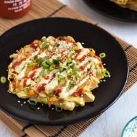 Vegetarian okonomiyaki (Japanese cabbage pancakes)