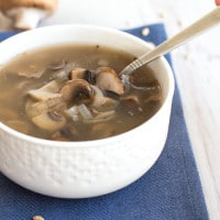 Low calorie barley and mushroom soup