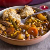 Vegetarian 'beef' stew with easy suet dumplings