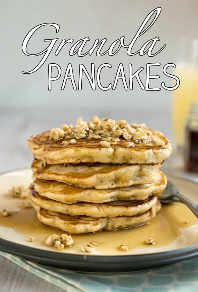Granola pancakes - with granola stirred right through the pancake batter! It makes these pancakes super hearty, and adds loads of flavour.