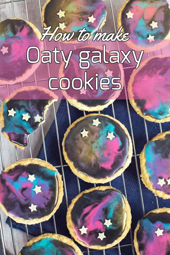 These oaty galaxy cookies were so easy - the gorgeous galaxy-inspired decoration is really foolproof!