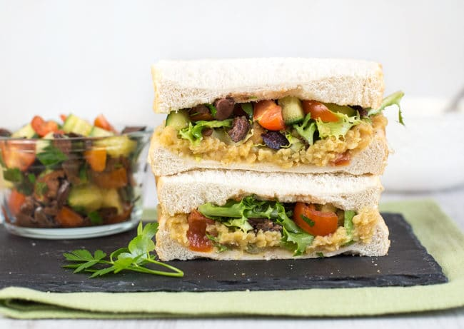Ultimate vegan sandwich! With red lentil spread and a super simple crunchy salad. Such a great vegetarian lunch.