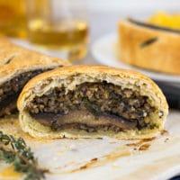 Vegetarian haggis and mushroom wellington
