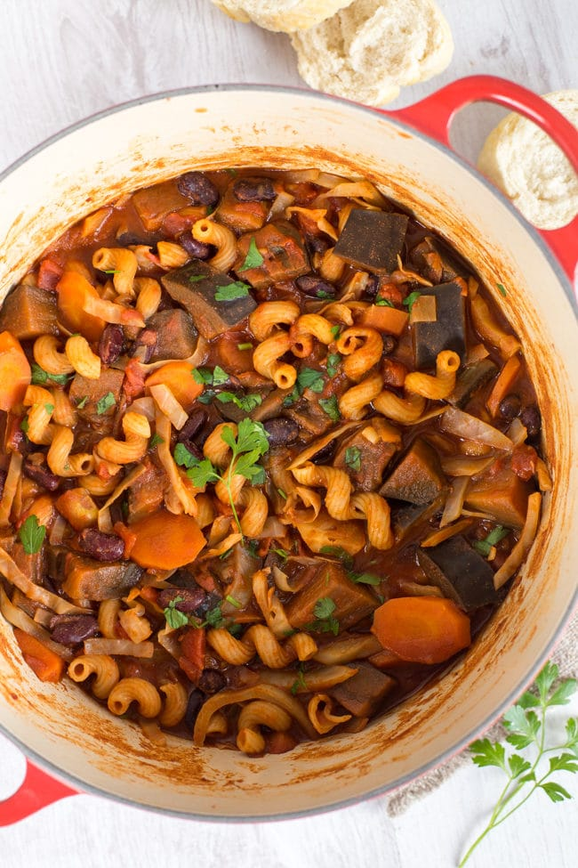 Aubergine goulash - my take on the traditional Hungarian stew! Vegetarian and vegan - perfect healthy comfort food.