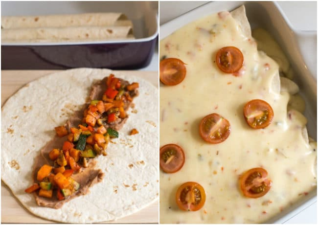Vegetarian refried bean enchiladas with a creamy jalapeno cheese sauce - the best enchiladas ever!
