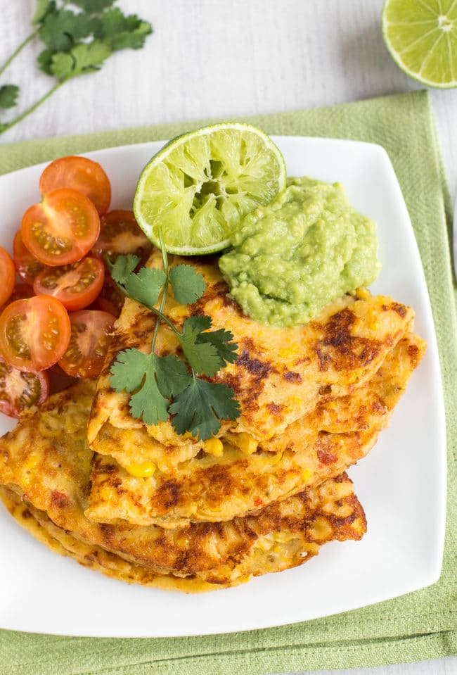 Cheesy jalapeno corn pancakes - with sweetcorn, spicy peppers and crispy cheddar cheese! Such a great option for Pancake Day.