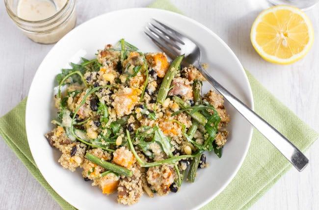 Sweet potato quinoa salad with tahini dressing