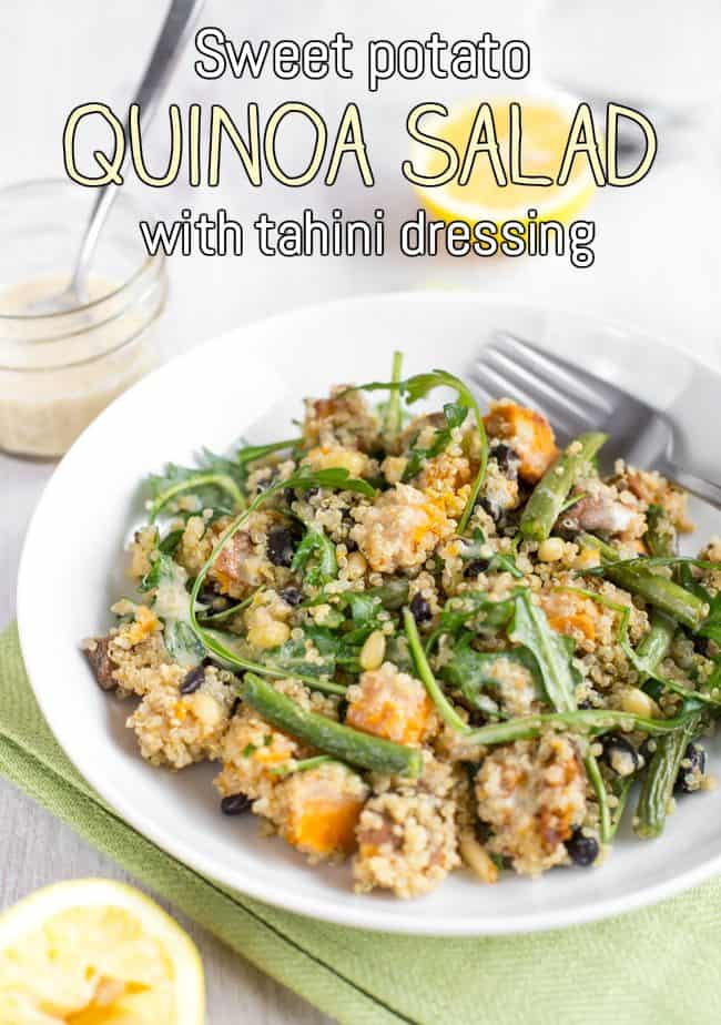 Sweet potato quinoa salad with tahini dressing