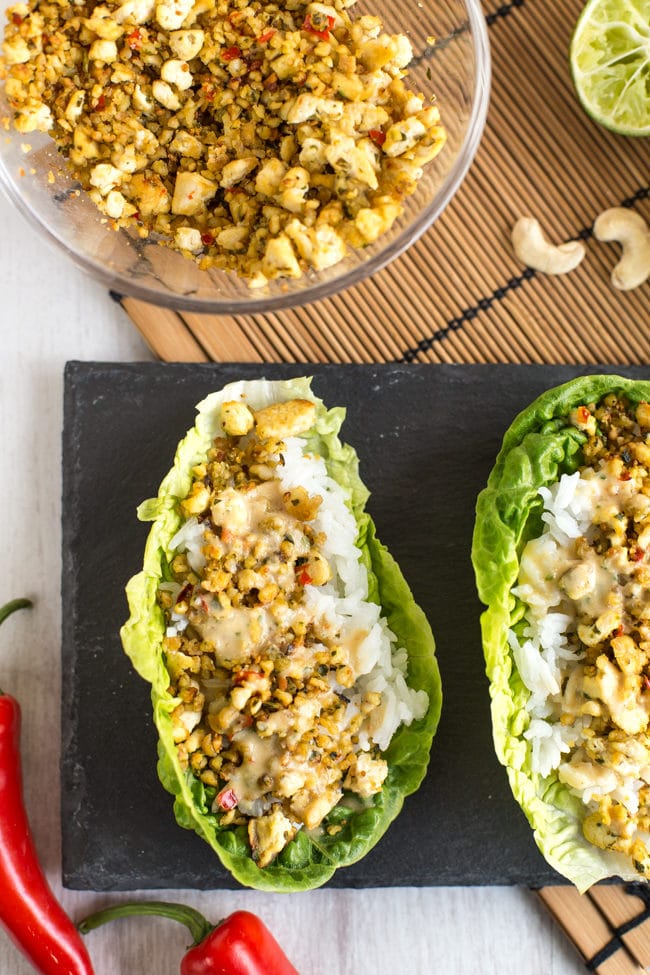 Nutty tofu lettuce wraps with rice and creamy peanut sauce - super light and healthy, and so delicious! Vegan, vegetarian, gluten-free.