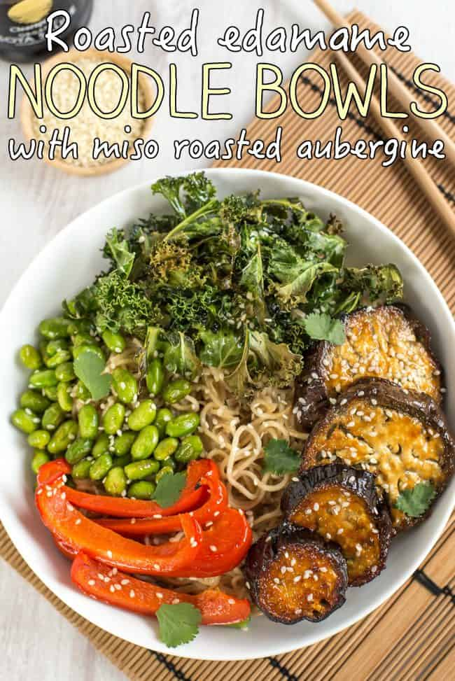 Roasted edamame noodle bowls with miso roasted aubergine - these are SO GOOD! That miso roasted aubergine seriously melts in your mouth. Such a lovely combination of flavours and textures in this vegetarian dinner bowl.
