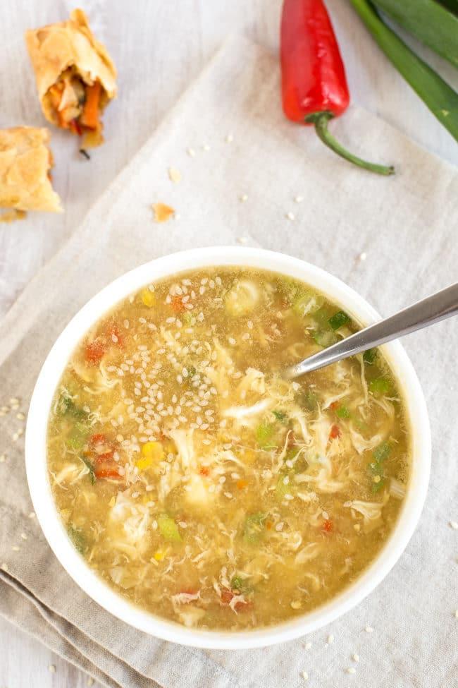 Sweetcorn egg drop soup - a low-calorie vegetarian soup that's got plenty of fresh Chinese flavour.
