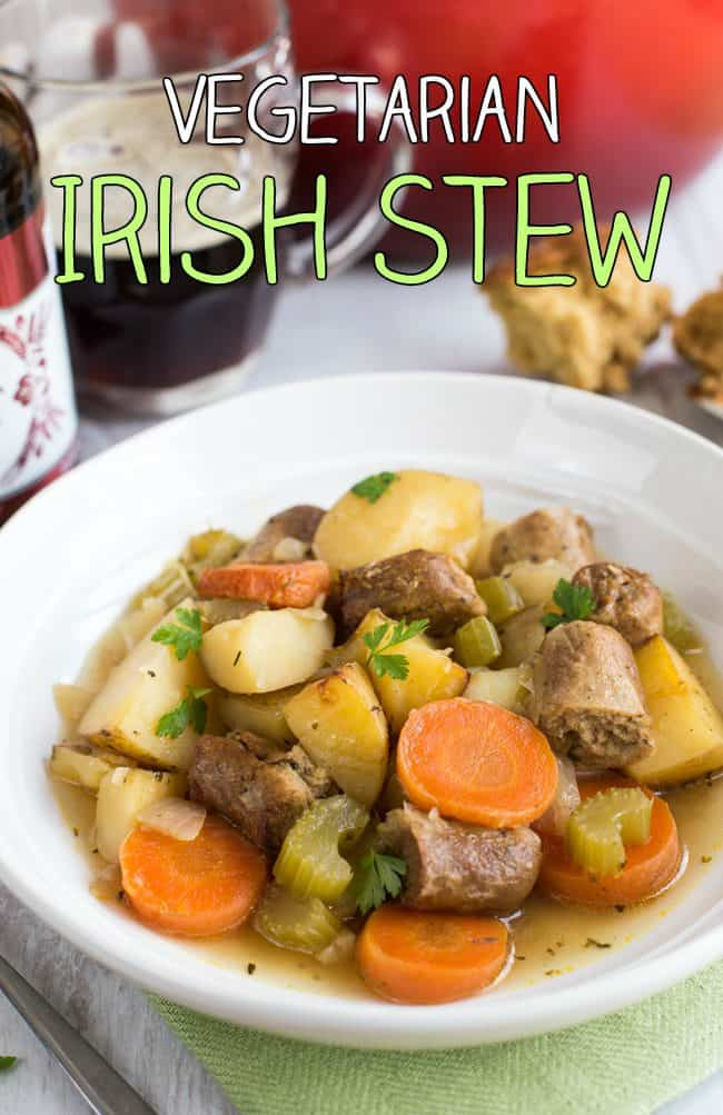 Vegetarian Irish stew - just a few simple ingredients to make a simple, hearty vegan stew. Perfect for St Patrick's Day dinner!