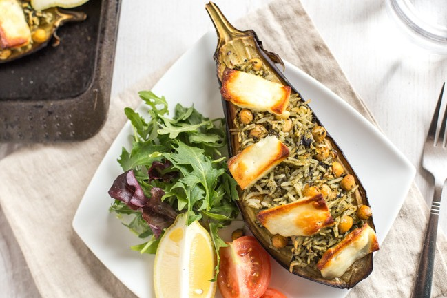 A stuffed aubergine with rice, chickpeas and halloumi cheese.
