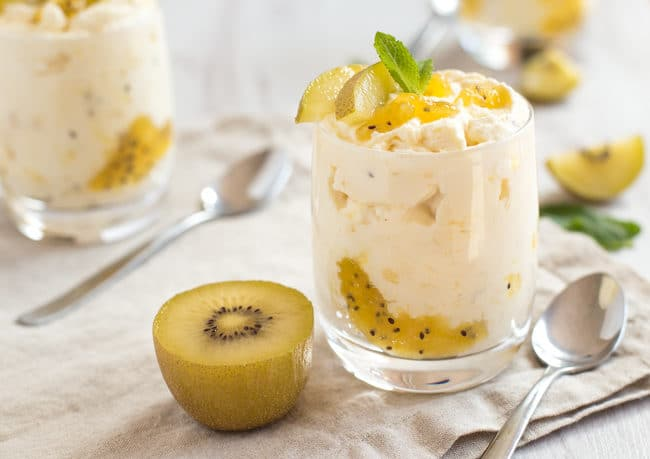 5 ingredient kiwi lemon posset - so easy! The perfect fancy dessert to make ahead for guests.