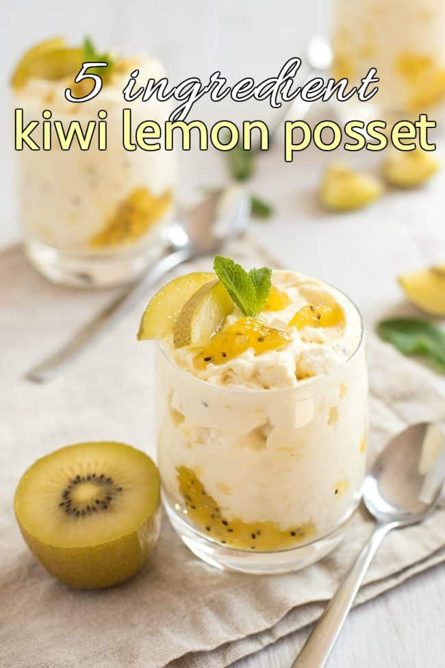 Kiwi lemon posset in a glass, topped with mint