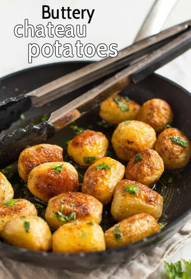 Buttery chateau potatoes - cooked in garlicky butter, then roasted until they're nice and crispy. SO GOOD! The perfect potato side dish.