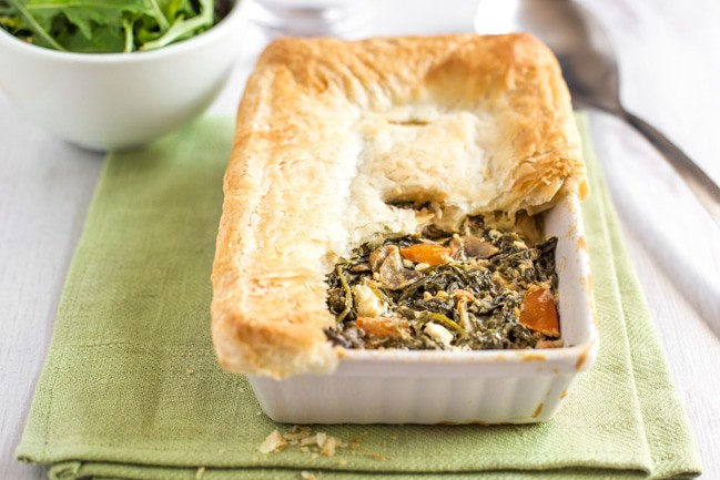 Spanakopita pot pie - the perfect way to use up a scrap of leftover puff pastry, with a creamy vegetarian spinach and feta filling!