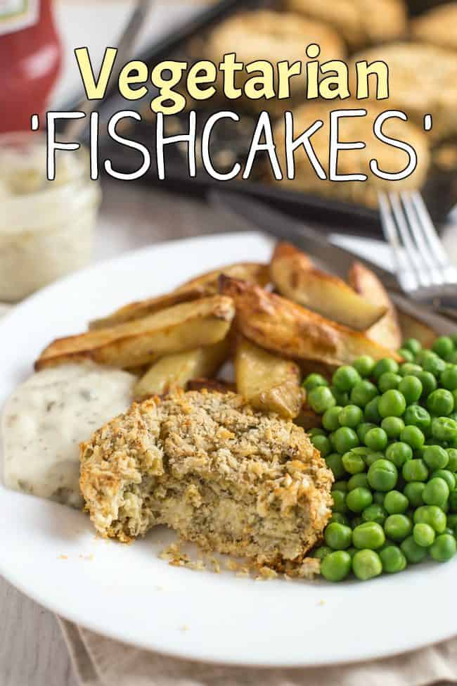 Vegetarian 'fishcakes' - quick and easy to make, and perfect served with chips, peas and tartar sauce!