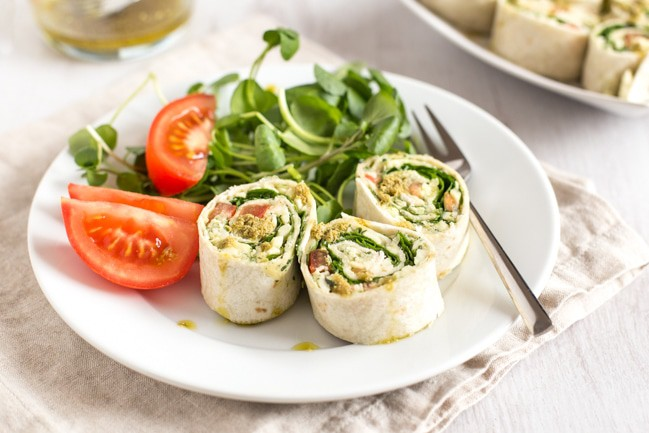 Pesto white bean tortilla roll-ups