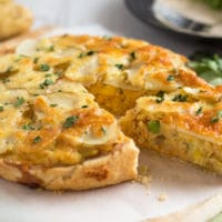 Cheesy potato and lentil pie