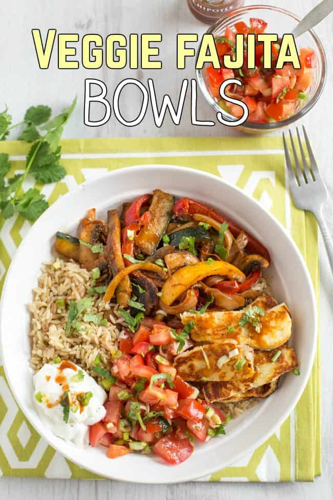 Veggie fajita bowls - all your favourite fajita fillings, served over rice! A great gluten-free alternative. I served mine with grilled halloumi, homemade salsa and sour cream.