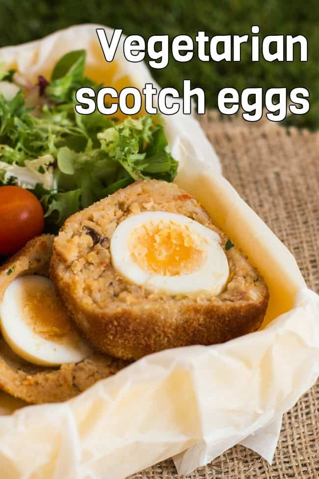 Vegetarian Scotch eggs - a veggie take on a British classic! Wrapped in a cheesy lentil mixture. Perfect for picnics and lunch boxes.