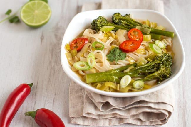 Asian broccoli noodle soup - a slurpy noodle soup with Tenderstem broccoli, leeks and rice noodles. Such a tasty vegan broth!