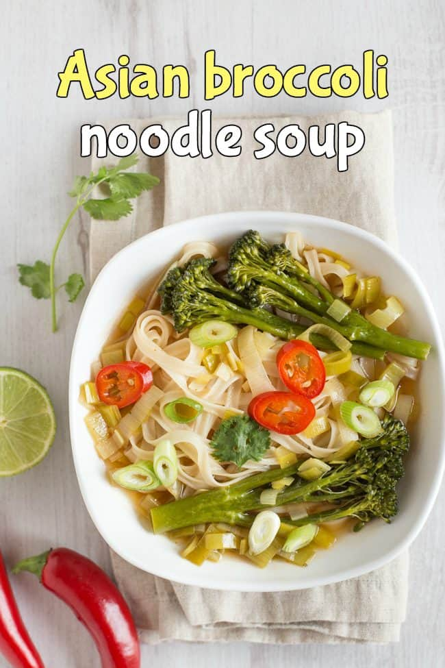Asian broccoli noodle soup - a slurpy noodle soup with Tenderstem broccoli, leeks and rice noodles. Such a tasty vegan broth!
