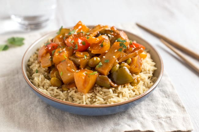 Easy homemade sweet and sour sauce - serve over veggies and your favourite protein for a tasty Chinese inspired feast! Vegetarian and vegan.