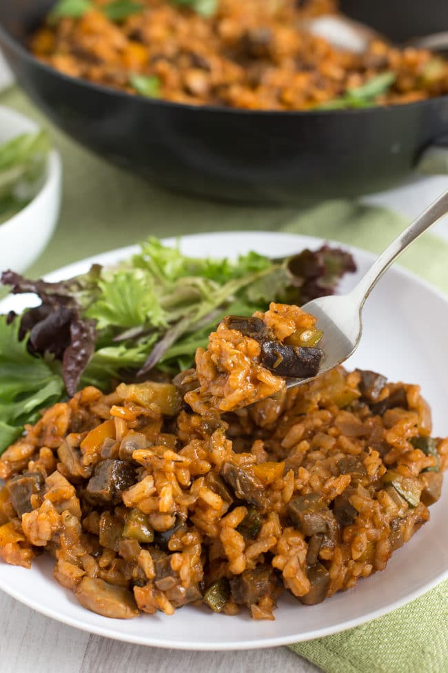 Ratatouille risotto - a rich and flavourful vegan risotto with heaps and heaps of veggies!