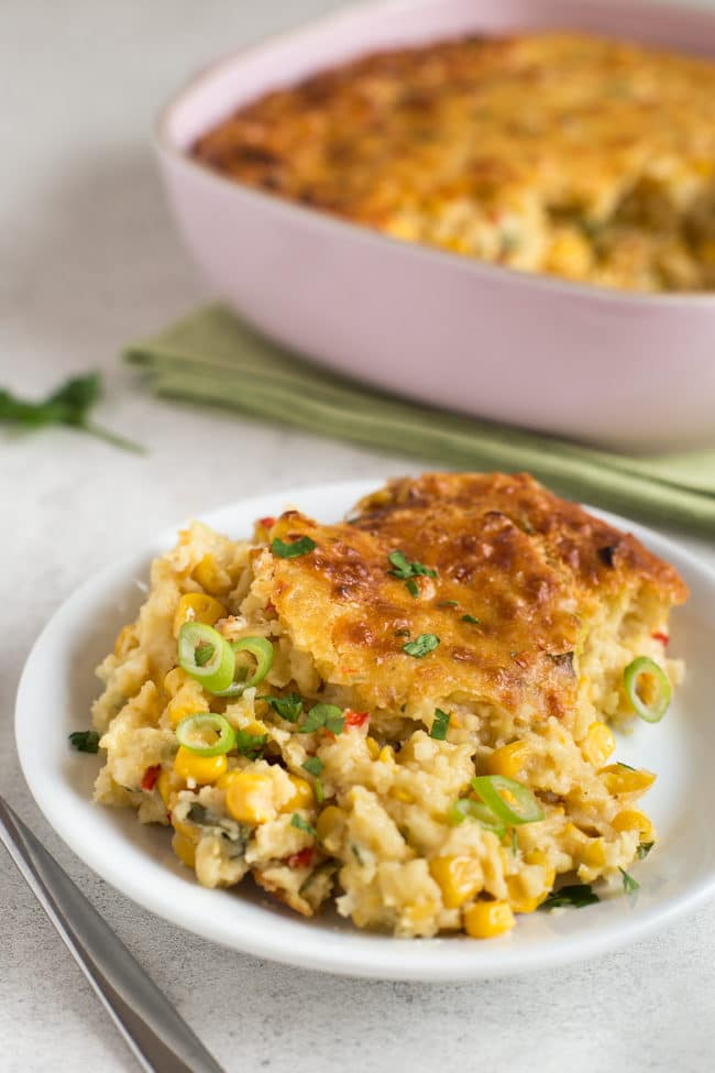 Cheesy sweetcorn pudding - the perfect casserole for Thanksgiving!
