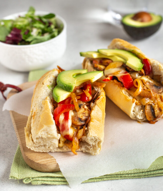 Vegetarian cheesesteaks with a Tex-Mex twist.