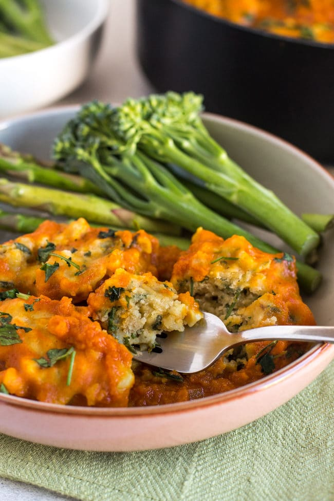 Chickpea dumplings in sweet potato gravy - super easy vegan comfort food!