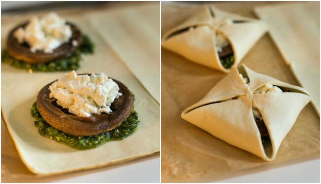 Easy mushroom and goat's cheese wellingtons with parsley pesto - a really easy version of a mushroom wellington! These individual pies are perfect for a vegetarian Christmas.
