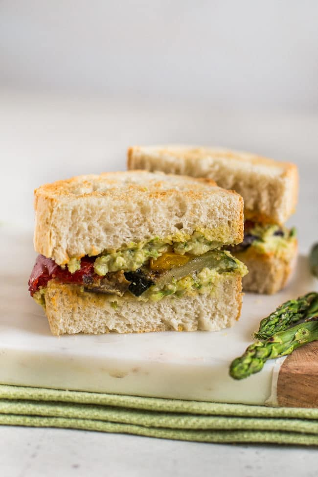 Vegetarian pate in a sandwich with griddled vegetables