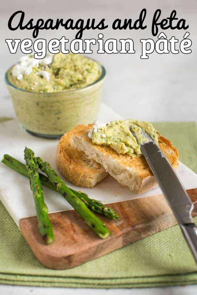 Vegetarian pate smeared on toast, with spears of griddled asparagus