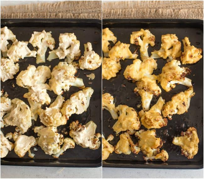 A collage showing a before and after of cauliflower being roasted in hummus