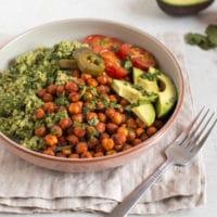 Quinoa and roasted chickpea vegan burrito bowls