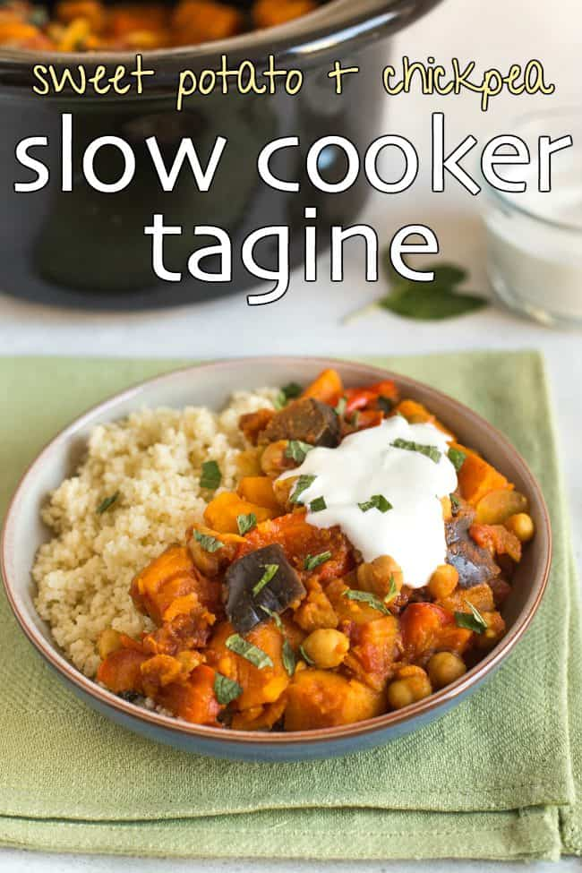 Vegetarian tagine in a bowl served with couscous and topped with yogurt and mint