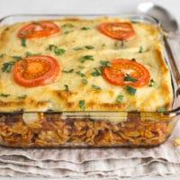 Vegetarian moussaka pasta bake