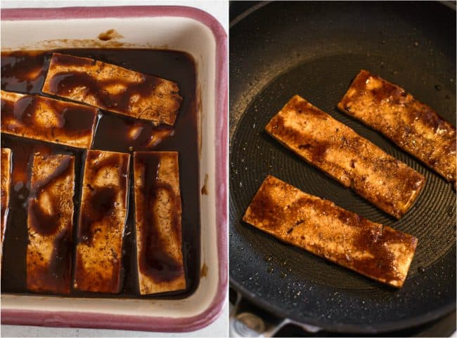 Tofu bacon marinating in BBQ sauce, and being fried in a pan