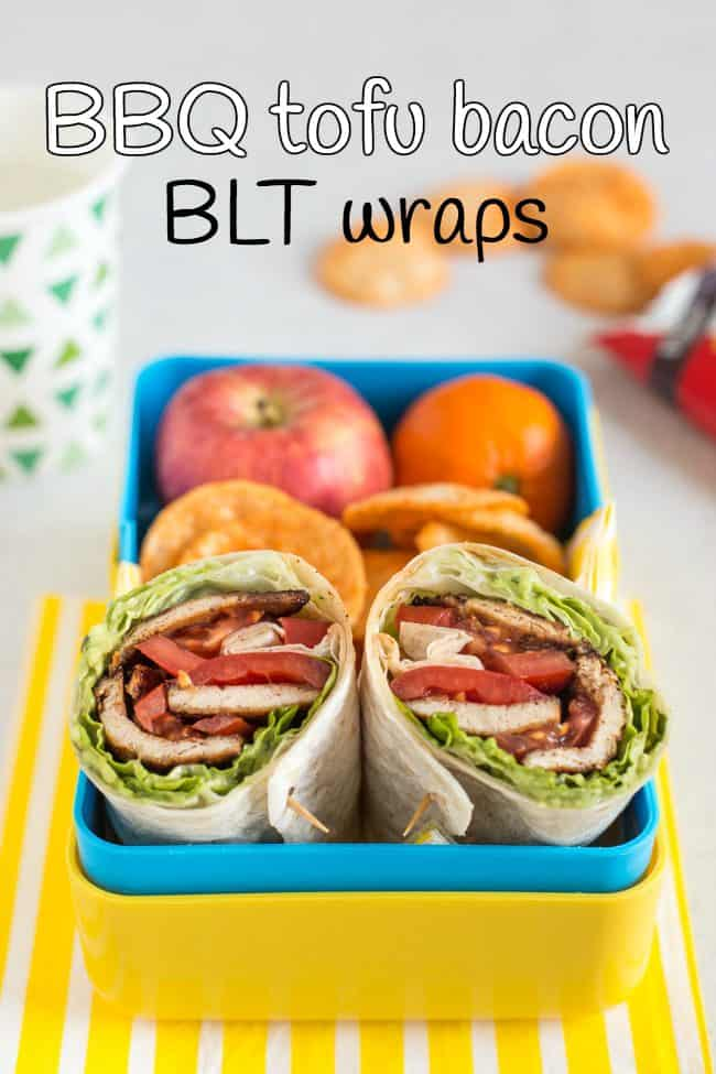 BBQ tofu bacon BLT wraps