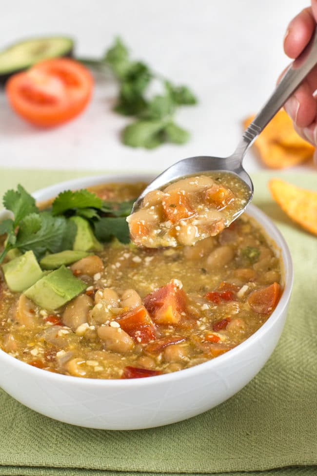 A spoonful of jalapeno and white bean soup
