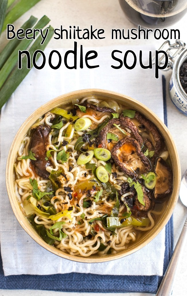 Mushroom noodle soup in a bowl shot from above